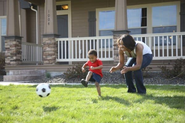 Mom Son Playing Soccer