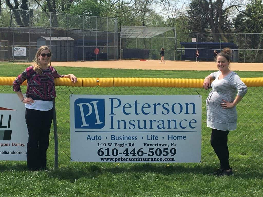 Peterson Insurance's Brookline Baseball Donation Sign