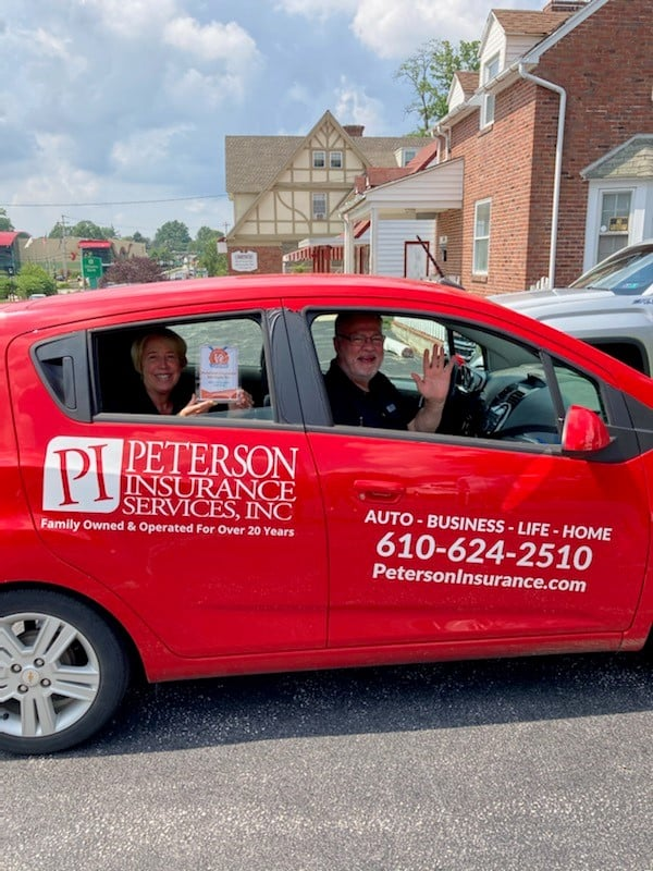 Peterson Insurance car driving in Havertown, PA.